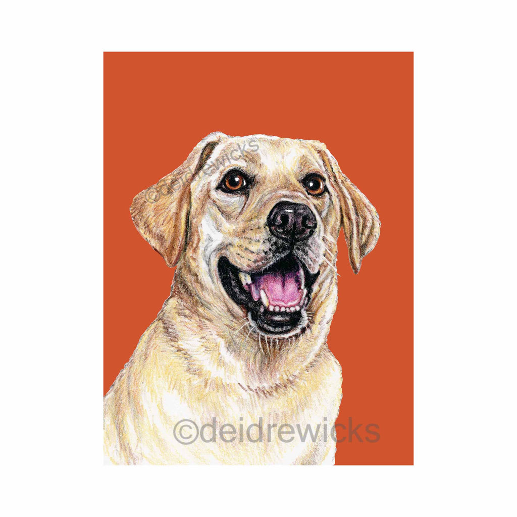 Crayon painting of a smiling yellow Labrador retriever dog against a deep orange background by Deidre Wicks