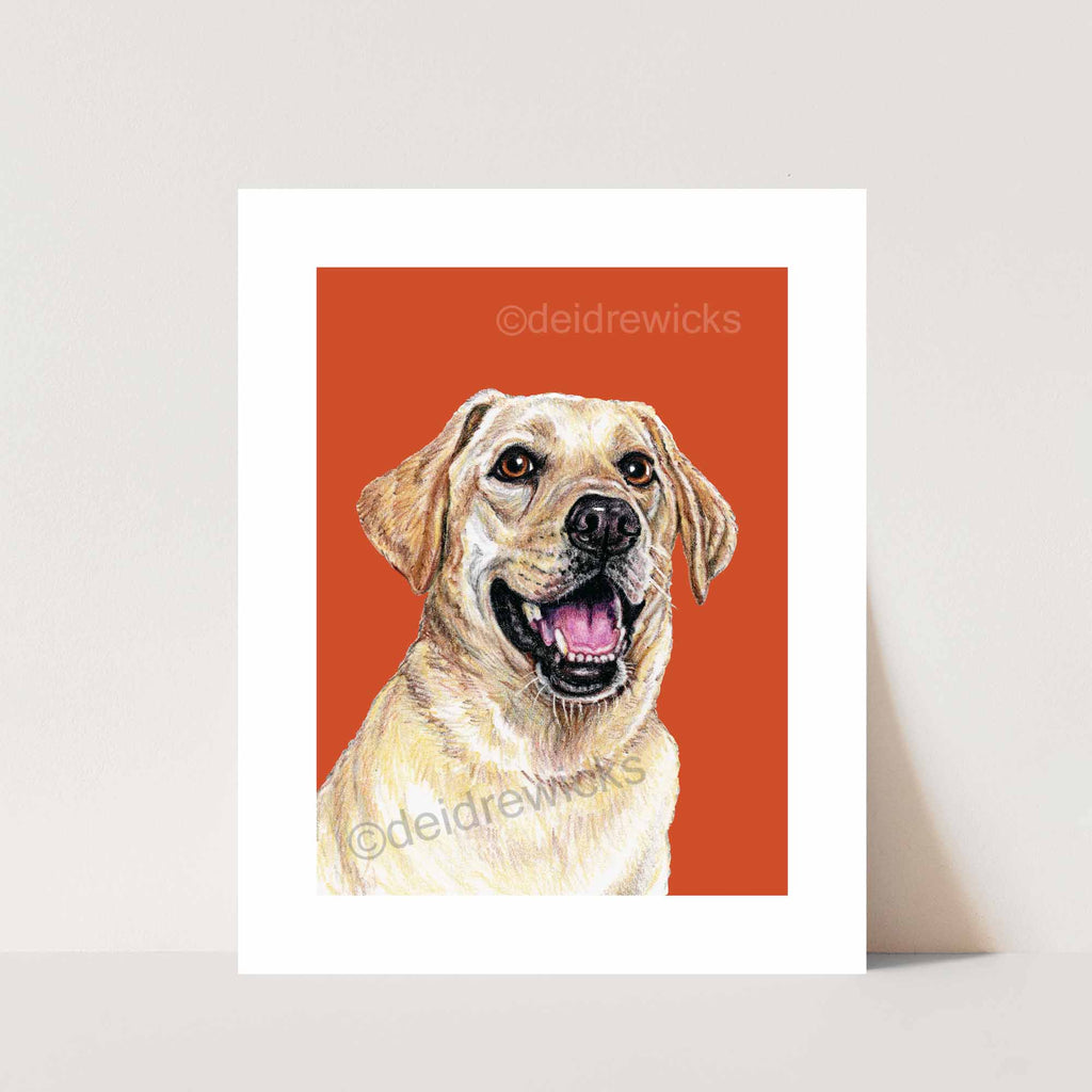 Crayon pet portrait print of a happy yellow lab by Crayon Crumbs