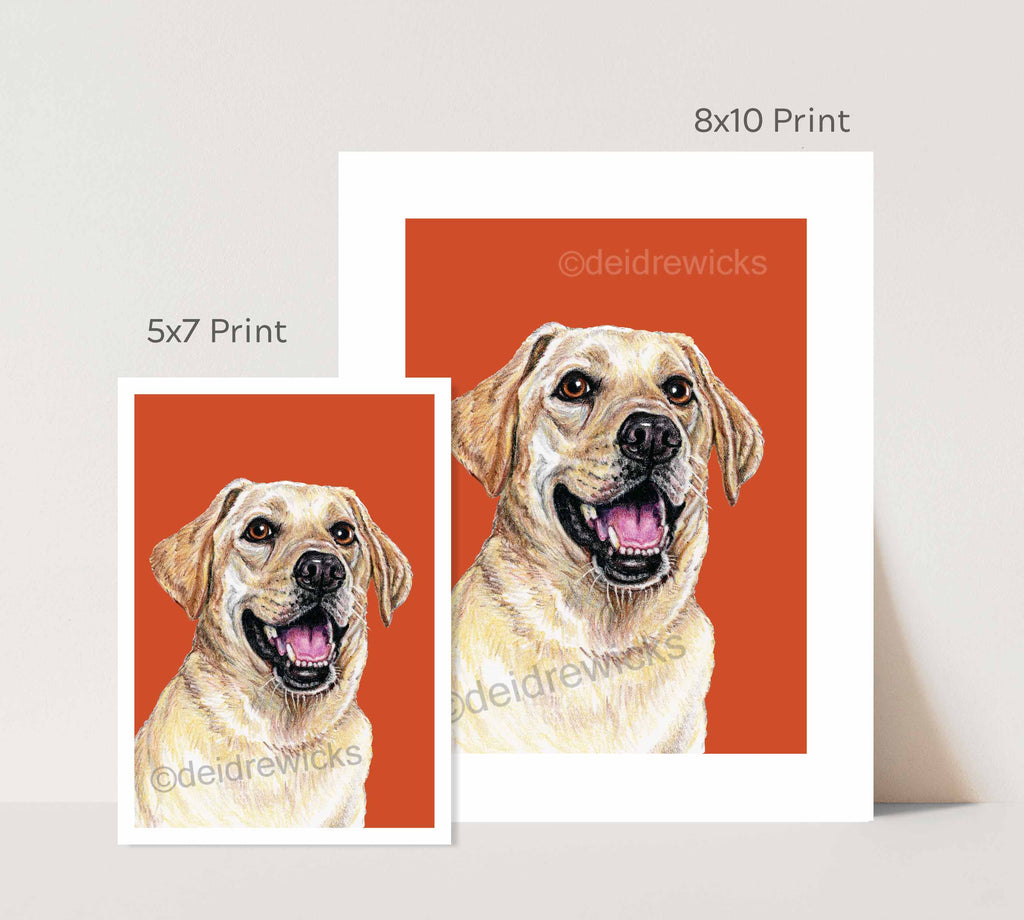 Difference in layout between a 5x7 and 8x10 crayon dog art print by Deidre Wicks