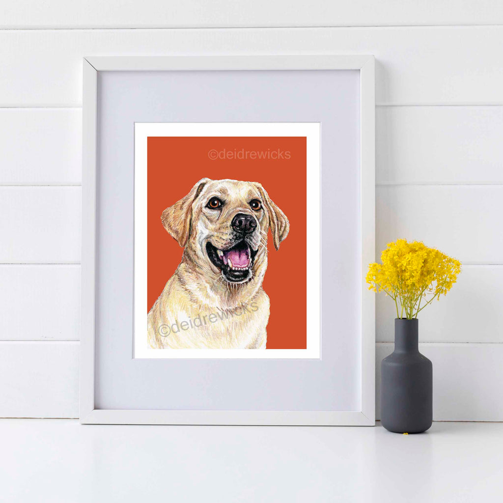 Example of how to frame a yellow lab art print by Deidre Wicks