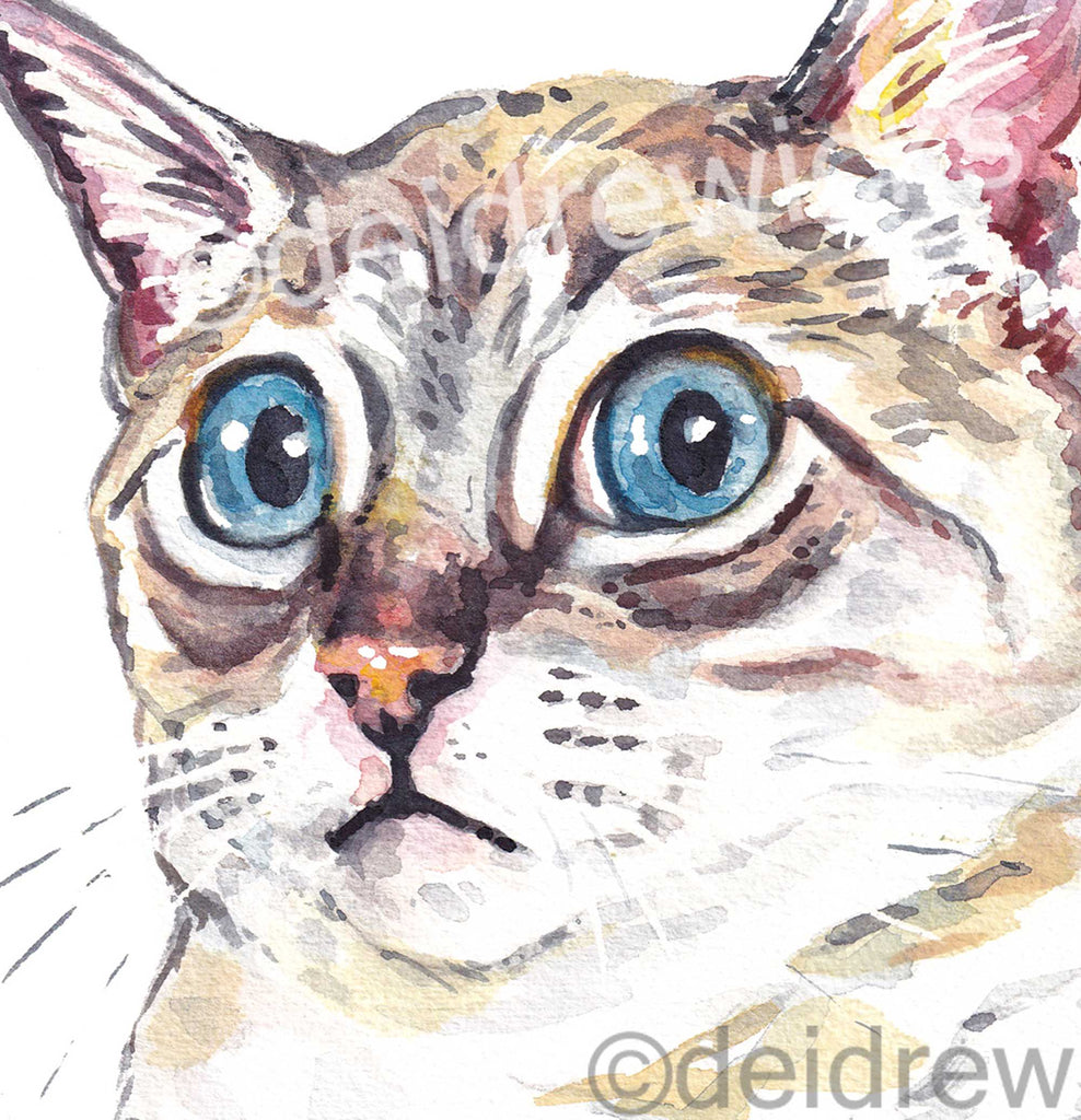 Funny cat watercolour print for a nursery, office or living room