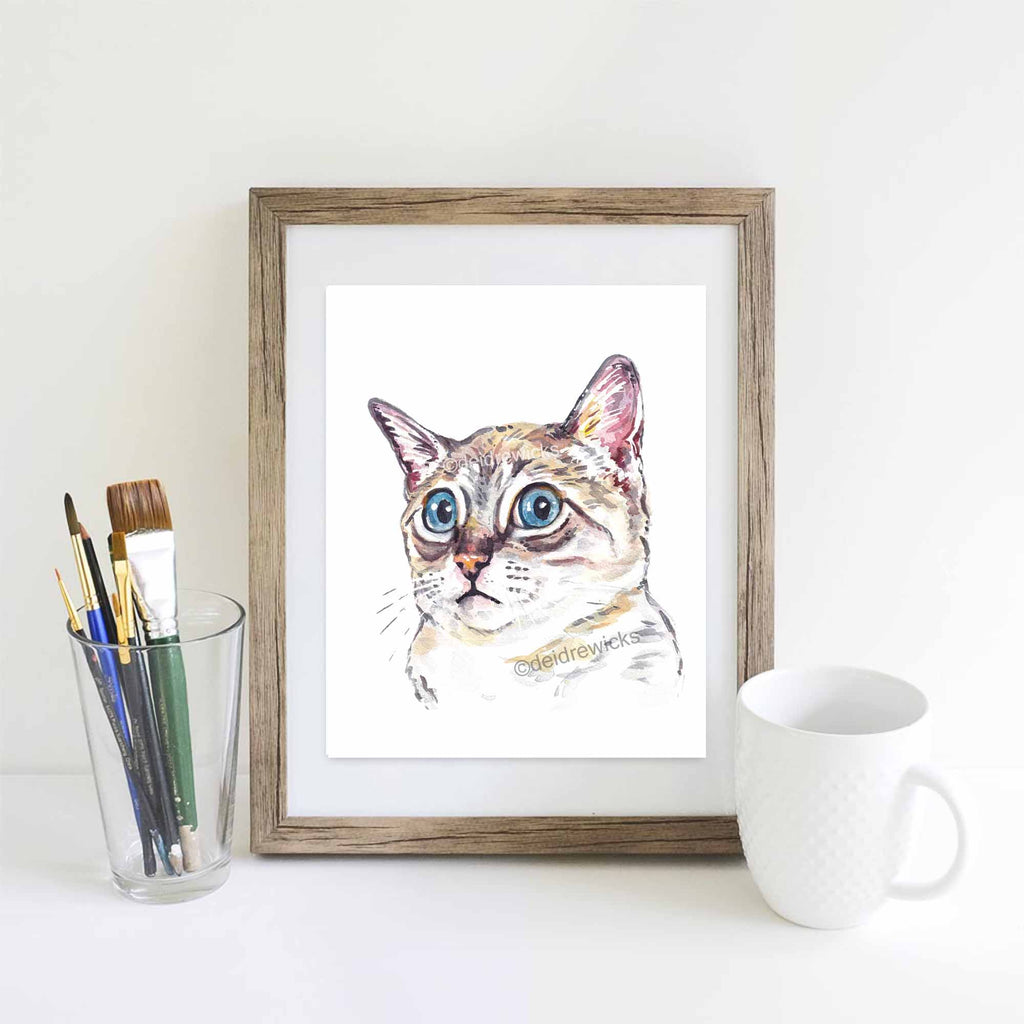 Suggested framing for a Siamese cat watercolor pet portrait by Water In My Paint