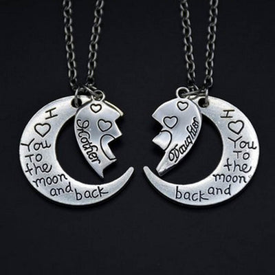 Moon & Back Heart Necklace