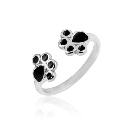 Silver Cat Paw Print Ring