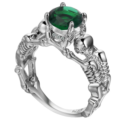 Green Skeleton Skull Ring