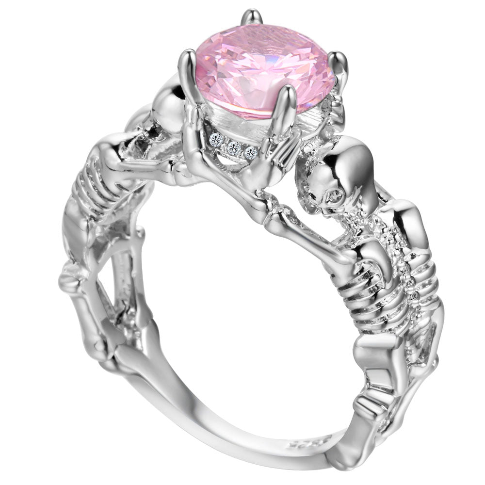 Pink Skeleton Skull Ring