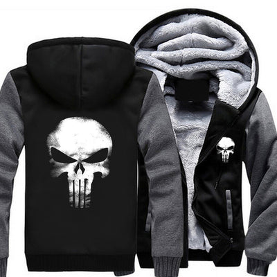 Skull Zipper Hoodie Winter Fleece Jacket