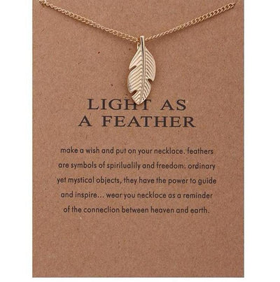 Gold-color Feather Necklace