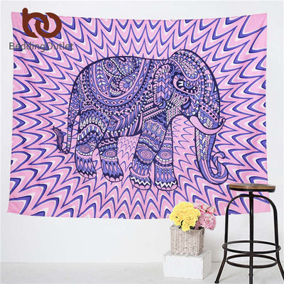 Elephant Printed Colorful Tapestry