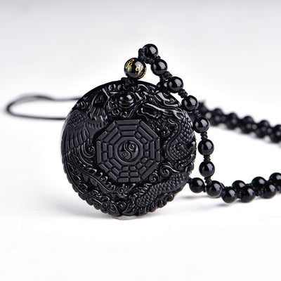 Obsidian Dragon Carved Necklace