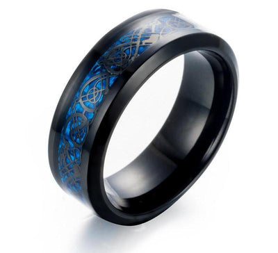 Blue Carbon Fiber Dragon Rings