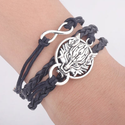 Antique Silver Leather Bracelet