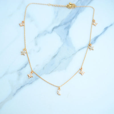 Fashionable Moon-Star Necklace