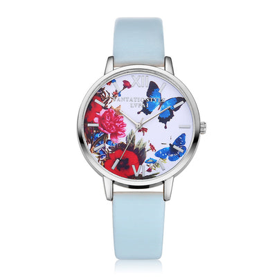 Butterfly Printed Quartz Wristwatch