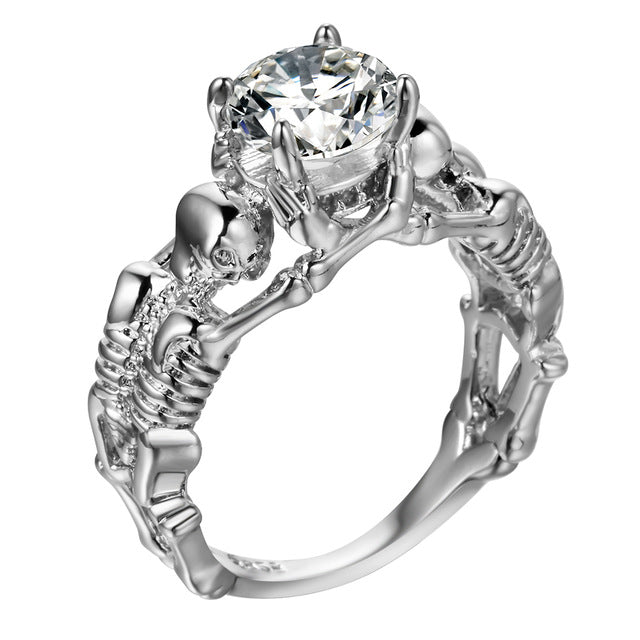Silver Skeleton Skull Ring For Women