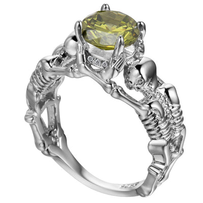 Champagne Skeleton Skull Ring for Women