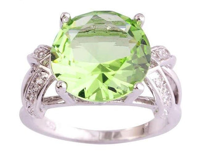 Tourmaline & White CZ Silver Ring