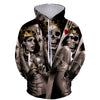 Fashionable 3D Skull Paint Hoodie