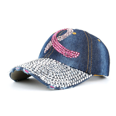 Rhinestone Breast Cancer Awareness Baseball Cap