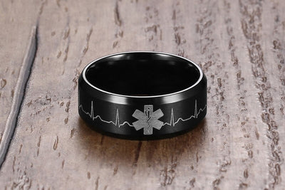 Stainless Steel Heartbeat Medical Symbol Black Band