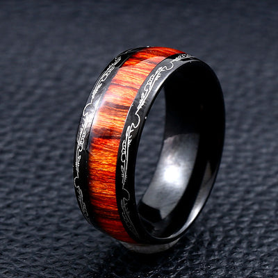 Unique Dark Red Wood Ring