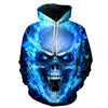 Blue Flame Skull Hoodies