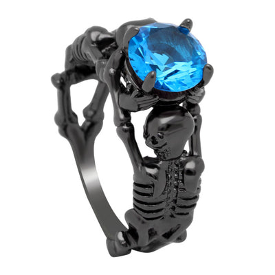 Sky Blue Black Skeleton Skull Ring For Women