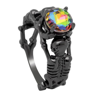 Black Skeleton Skull Ring For Women