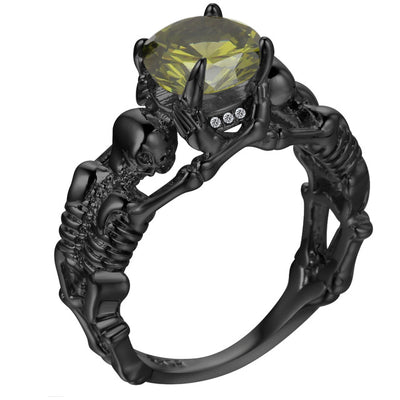 Champagne Black Skeleton Skull Ring For Women
