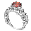 Red Silver Skeleton Skull Ring for Women