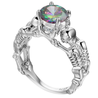 Rainbow Skeleton Skull Ring