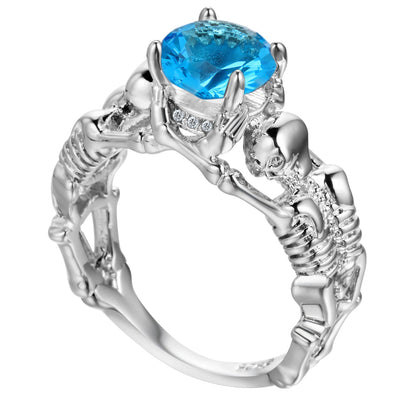 Light Blue Skeleton Skull Ring for Women