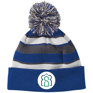 MC Striped Beanie with Pom