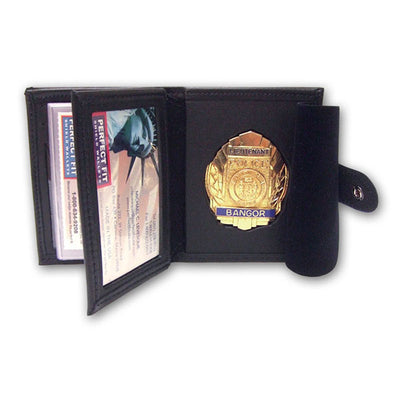 "Perfect Fit Hidden Badge Wallet W/ Money Pocket, 5 Cc Slots & Flipping Id Window, Black, Id 2 3/8"" X 3 3/4"", Badge Width 2 5/8"""