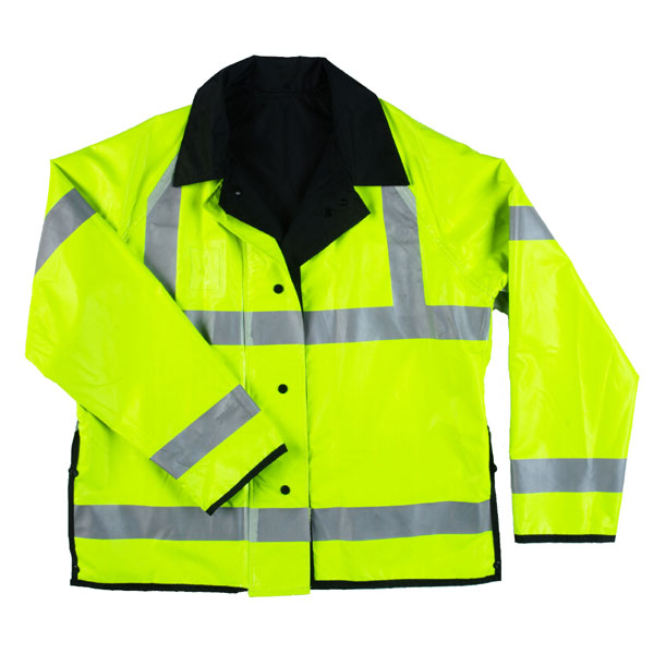 "Neese Industries Hi-Visibility 30"" Reversible Traffic Rain Jacket W/ Detachable Hood, Lime Green/Black"