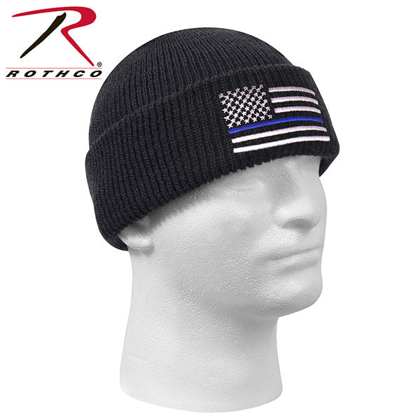 44410fa86bc Rothco Thin Blue Line Black Deluxe Watch Cap