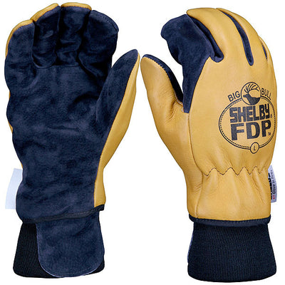 Shelby Specialty Gloves FDP Elk/Pigskin Fire Gloves w/ Gore Rt7100 Glove Barrier, Gold/Black