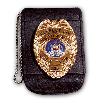 "Perfect Fit Universal Badge And Id Holder With 30"" Chain & Hook & Loop Closure, Black, Id 2 3/4"" X 3 1/4"", Badge Width 3"""