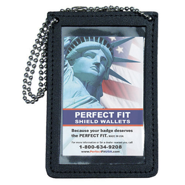 "Perfect Fit Double Id Holder For Neck With 30"" Chain, Black, Id 3 3/4 X 4 1/2"""