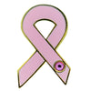 "Pink Ribbon Pin with Stone, Enameled & Plated, Rubber Clutch, 1"" 8346A"
