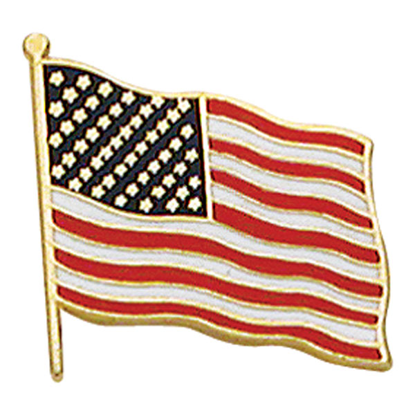 Smith & Warren USA flag pin - 0.84 W. x 0.79 inches H.