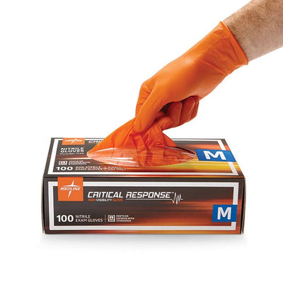 Medline Industries Critical Response Nitrile Gloves, Hi-Viz Orange