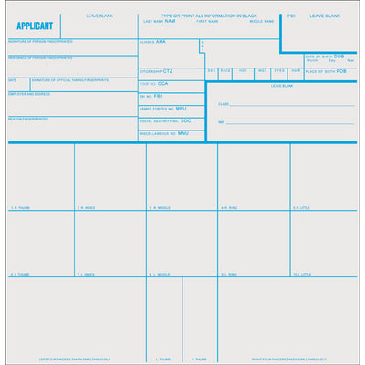 Sirchie Applicant Record Cards, 8 Inch X 8 Inch