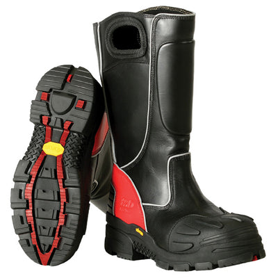 Fire-Dex Leather Fire Boot, Black & Red