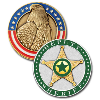 V H Blackinton Sheriff Modeled Challenge Coin, Green