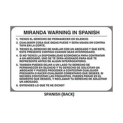 Geiger Miranda Warning Card