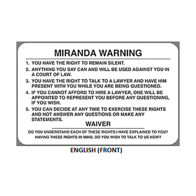 Versatile image inside miranda warning card printable
