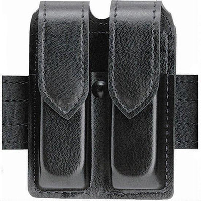 "SafariLand SF77 Leather Look Double Handgun Magazine Pouches For 2-1/4"" Duty Belts"