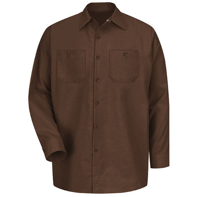 VF Imagewear Industrial Solid Work Long-Sleeve Shirt, Chocolate Brown & Spruce Green