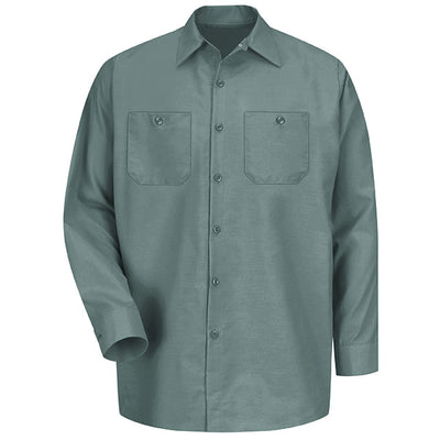 VF Imagewear Industrial Solid Work Long-Sleeve Shirt, Light Green & Light Tan
